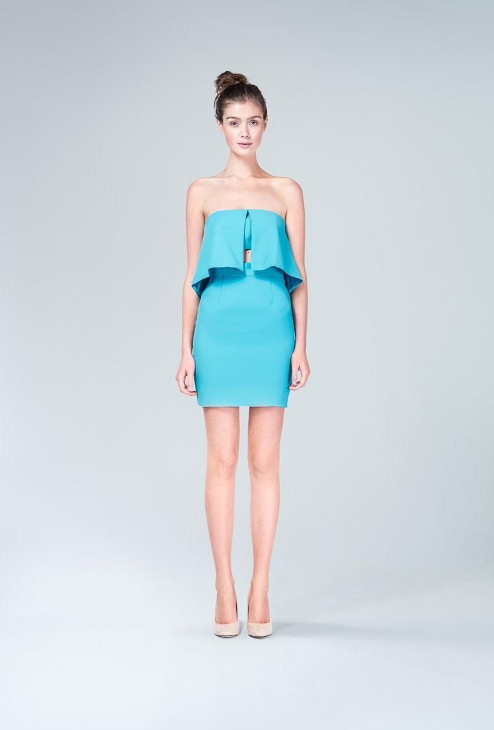 Бирюзовое платье мини