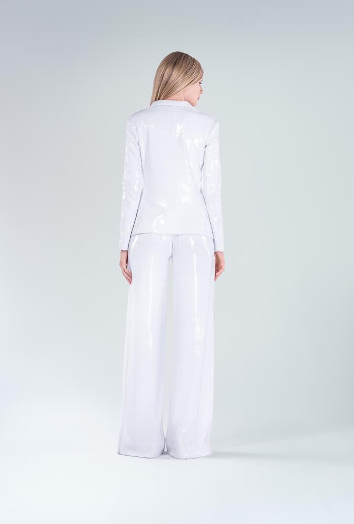 Брючный костюм белые пайетки