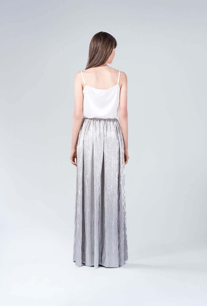 Комплект юбка серебро и топ бретели
