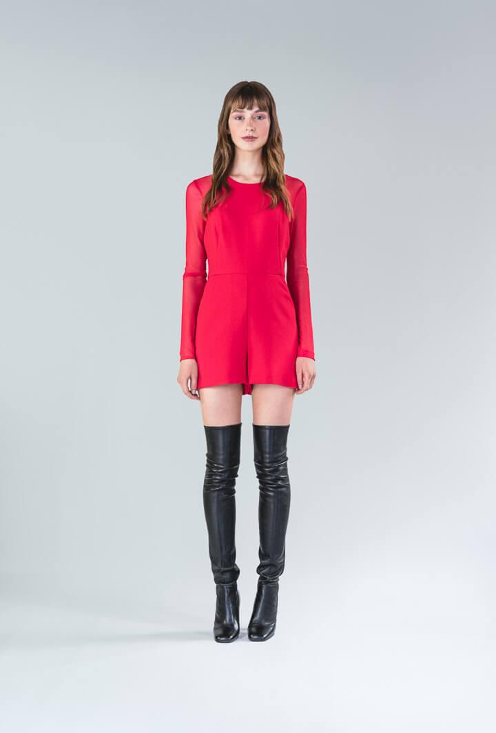 Красный комбинезон шорты