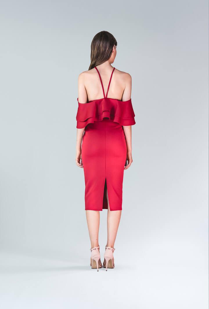Красное платье с воланами Asos