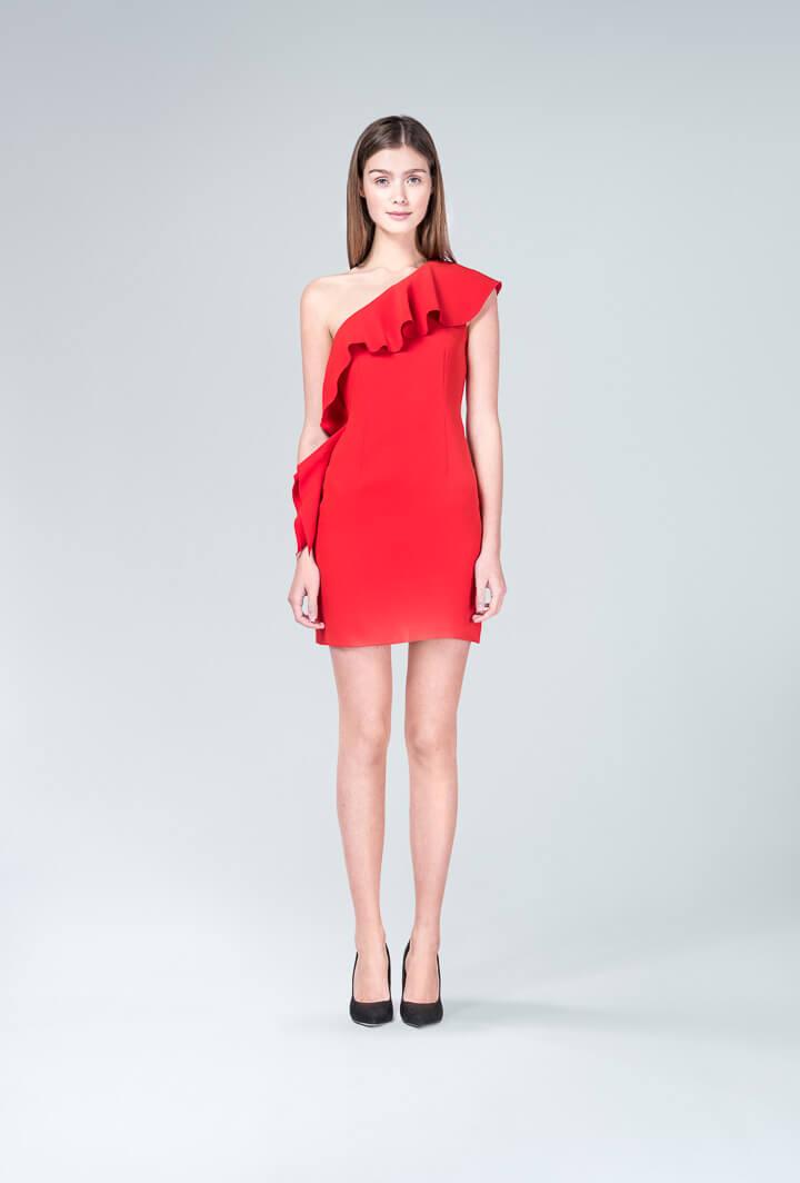 Красное платье с воланами Rachel Zoe