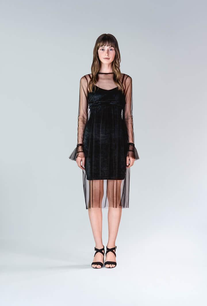 Платье бархатное с сеткой и болеро