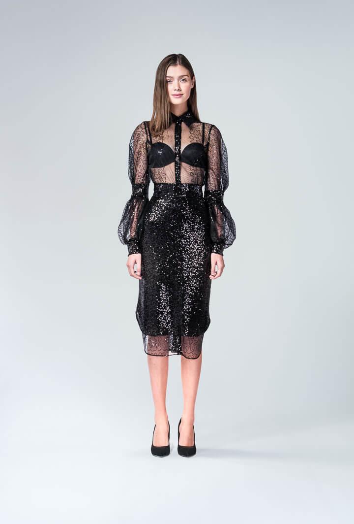 Платье черная сетка