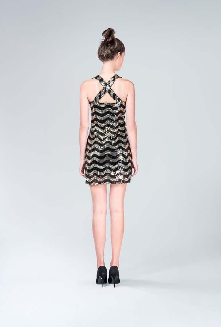 Платье черно-золотое пайетки