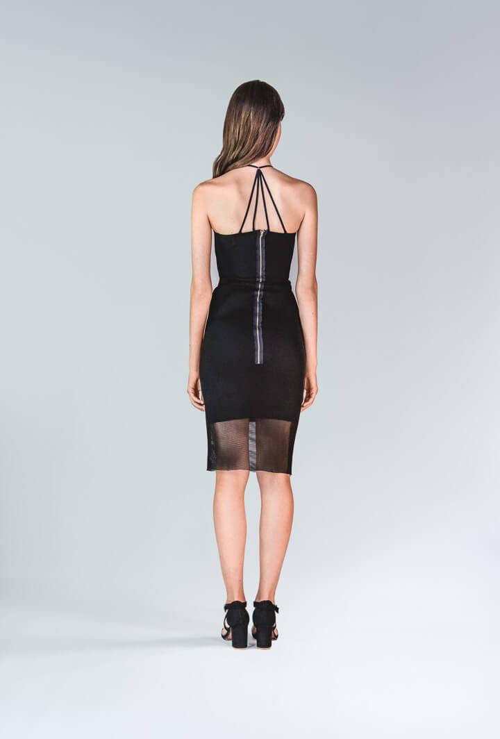 Платье черное бандажное