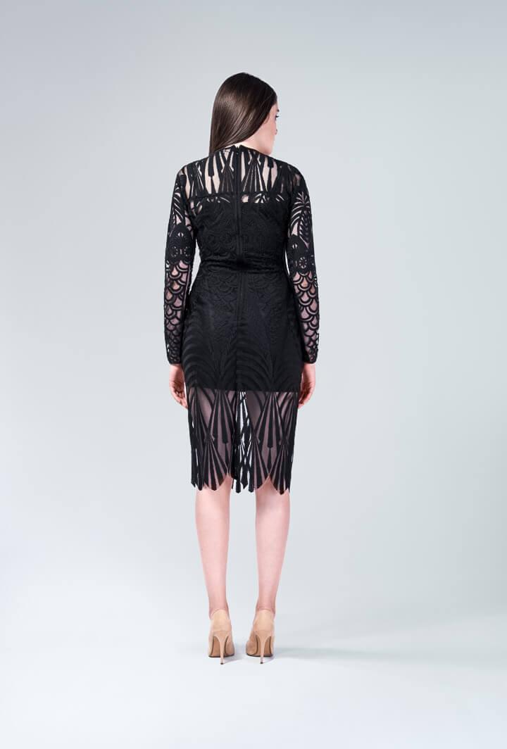 Платье черное гипюровое