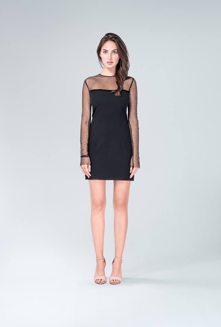 Платье черное верх сетка