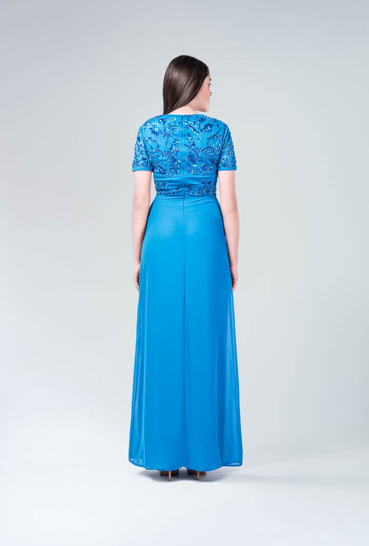 Платье голубое с бисером