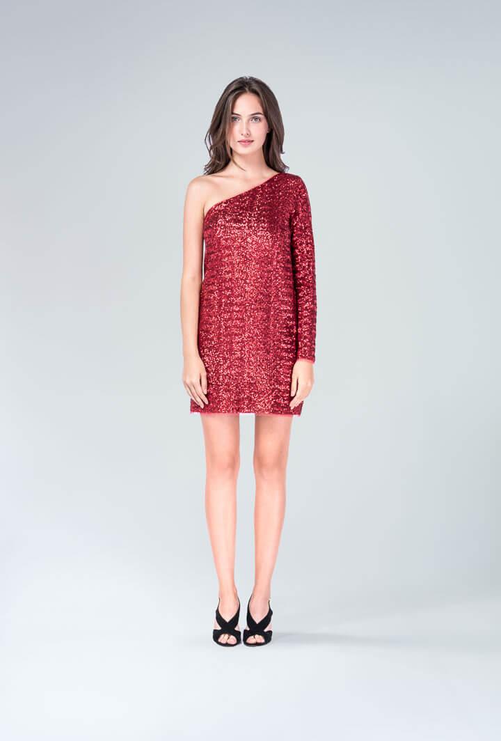 Платье красное пайетки