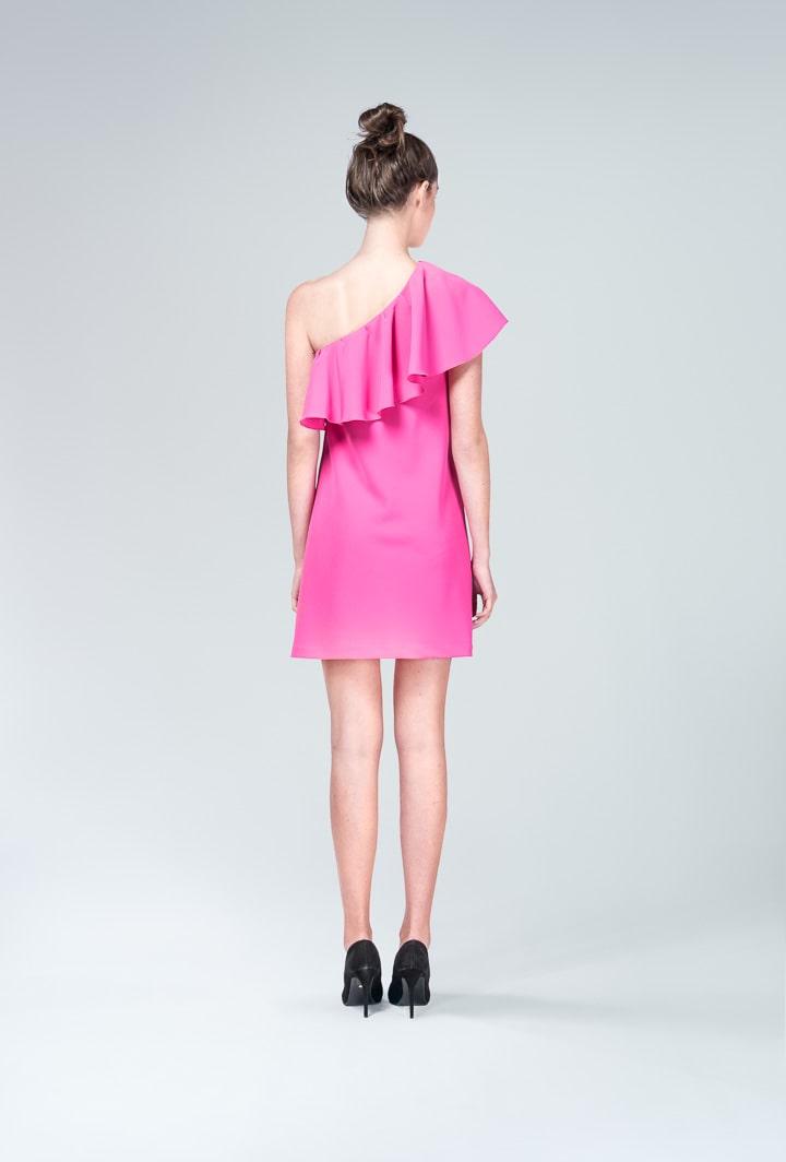 Платье малиновое с воланом