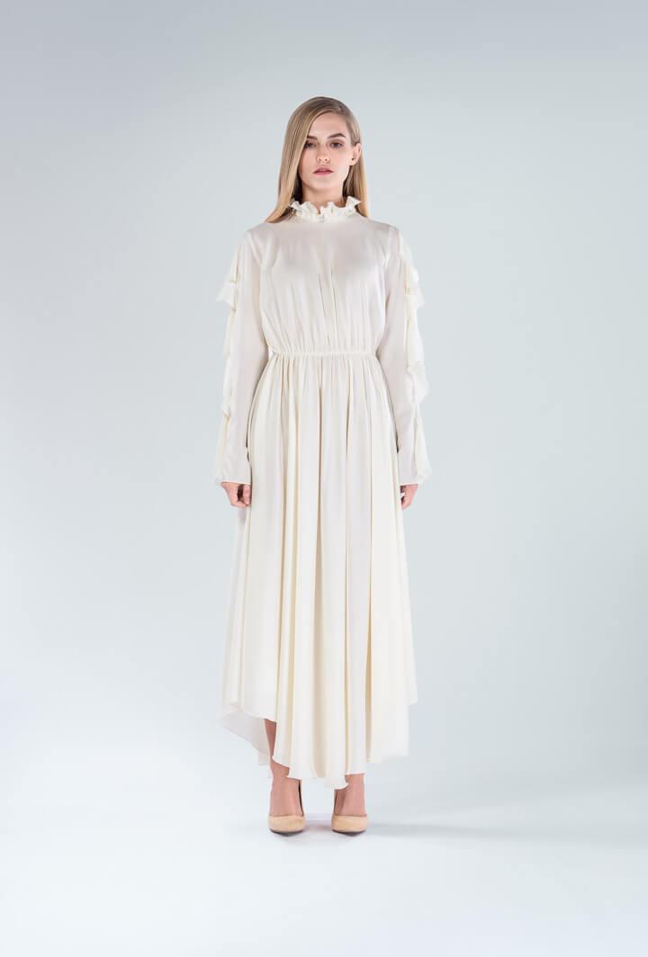 Платье молочное с воланом миди
