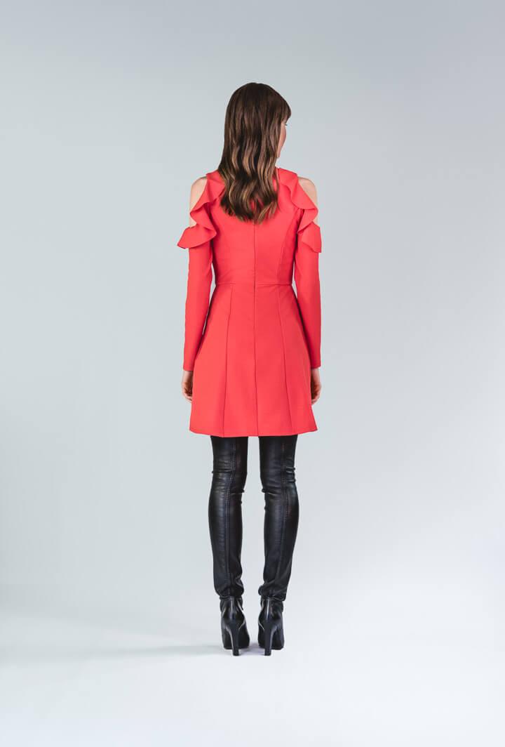 Платье морковно-красного цвета