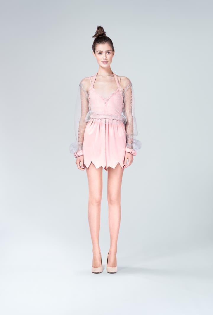 Платье пудровое с чехлом сетка