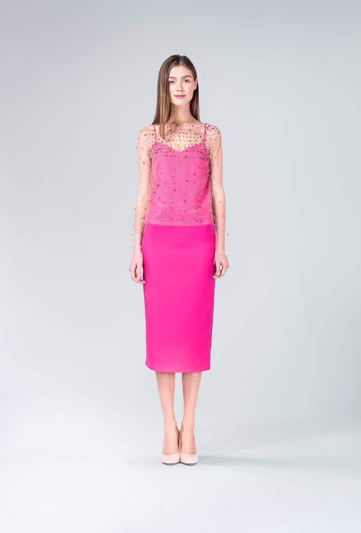 Платье розовое с сеткой