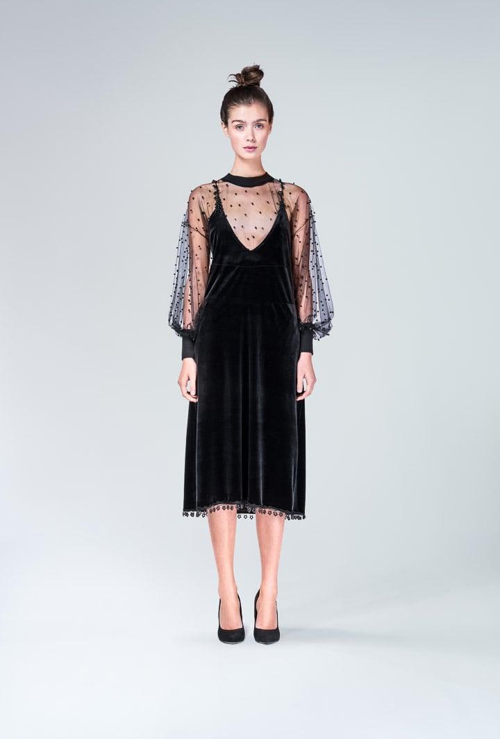 Платье с прозрачной сеткой