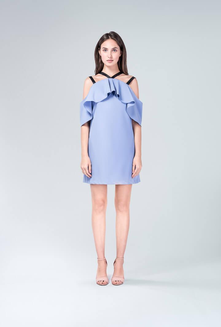 Платье с репсовой лентой в шлейках