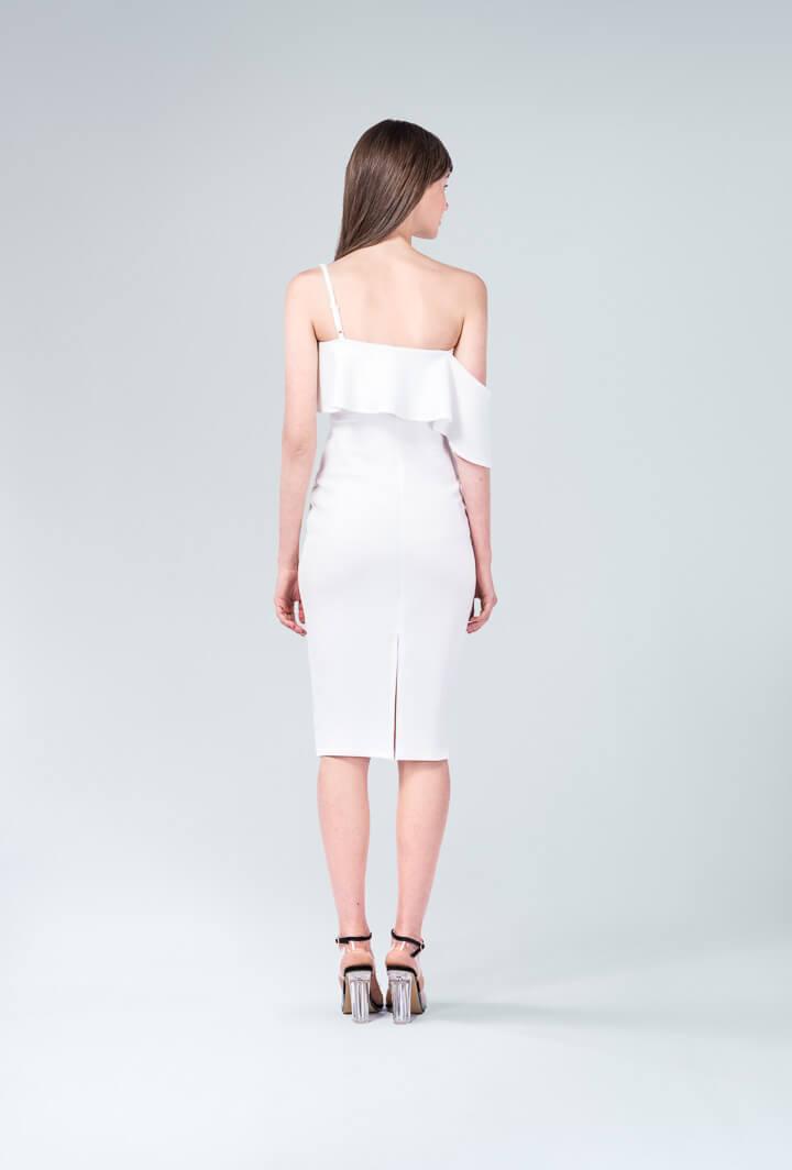 Платье с воланом на одно плечо