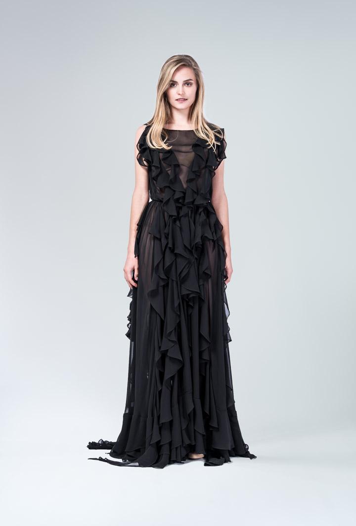 Платье шифоновое с воланами