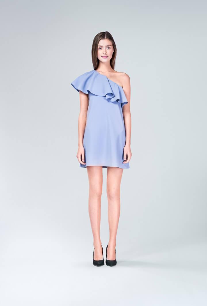 Платье сиреневое с воланом