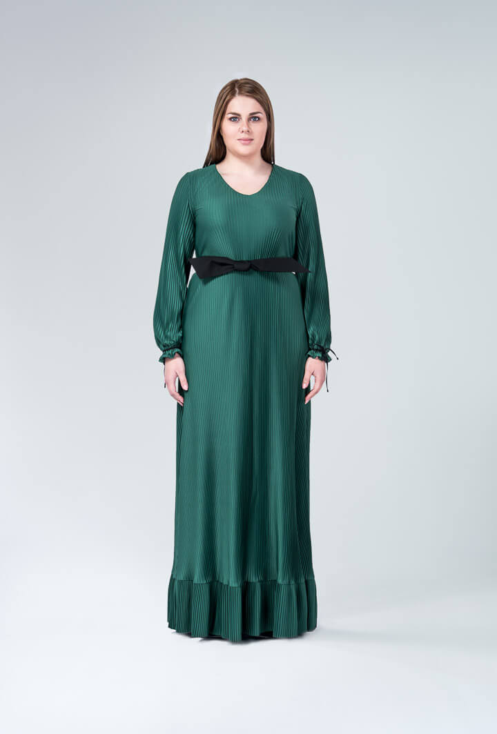 Платье зеленое плиссированное