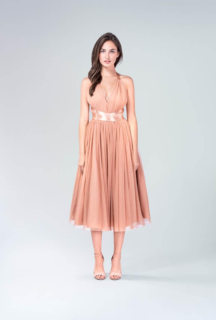 Шифоновое платье с атласной лентой